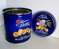 Danish Butter Cookie Tin Famous Dane Dan Cookie Denmark Blue w Flowers Vintage
