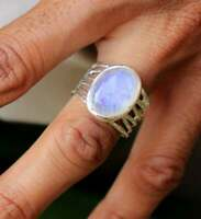 SOLID 925 STERLING SILVER PARTYWEAR WEDDING MOONSTONE GEMSTONE MENS RING JEWELRY