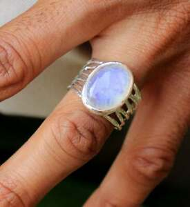 SOLID 925 STERLING SILVER PARTYWEAR WEDDING MOONSTONE GEMSTONE MENS RING JEWELRY