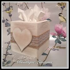 SHABBY CHIC LAURA LOVE HEART WOODEN TISSUE HOME BEIGE BOX MAKE UPHOLDER NEXT DAY