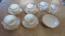 Vtg Fire King Milk Glass Swirl Gold Trim Cup/Saucer/Cream/Sugar Anchor Hocking