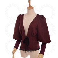 Women Retro Victorian Puff Sleeve Blouse Steampunk Lolita Shirt Lace Trim Tops
