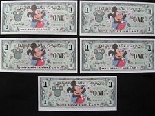 MINT 2000 Disney Dollar $1 bill Set of 5 Consecutive number, Never Used, UNC.