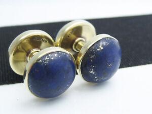 Antique Art Deco SANSBURY NELLIS 14K Gold Lapis Lazuli Cufflinks Spool Buttons