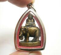 LP NGERN ON ELEPHANT PENDANT THAI BUDDHA AMULET REAL BLESS LUCKY MONEY RICH GIFT