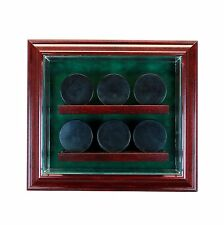 6 Hockey Puck Cabinet Display Case Made in USA Hinged Door Glass Suede NHL UV