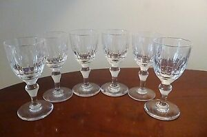 "Full set of 6 x Vintage STUART Crystal,  Sherry Glasses ""Hampshire"" Cut 4¾"" Tall"