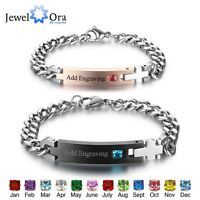 Personalised Birthstone Custom Engrave ID Her King His Queen Bracelets For Lover