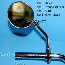 round small Ø universal mirror for 22mm handlebar Spiegel mit 22mm lenkerklemme