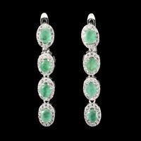 Unheated Oval Emerald 4x3mm Cz 14K White Gold Plate 925 Sterling Silver Earrings