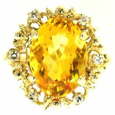 5.50 CT ORANGE CITRINE & DIAMOND COCKTAIL RING 14K YELLOW GOLD NATURAL OVAL CUT