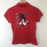 LACOSTE Vintage 90s Womens Red Polo Shirt Bowling Print Size Small