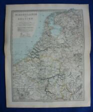 Original antique map NETHERLANDS, BELGIUM, ANTWERP, Stieler, 1891