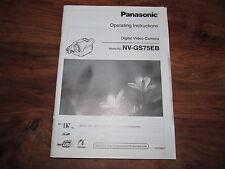 Panasonic Gs75 Rara Original del Reino Unido Manual de instrucciones Libro Instrucciones nv-gs75eb