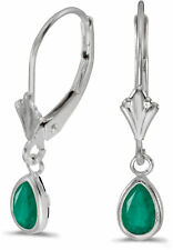14k White Gold PEAR Emerald Bezel Lever-back Earrings