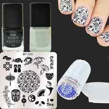 5Pcs Chinese Style Nail Art Stamp Plate Stamping Polish W/Stamper & Scrpaer Kit