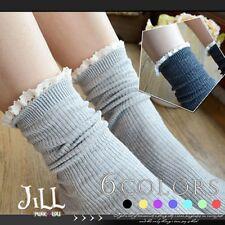 Japan lolita liz lisa fairy kei lace trim striped knit ankle socks J3C019