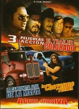 3 PELICULAS DE ACCION-El Trailer Colorado,La Cheyenne Pesada DVD ,Español NEW