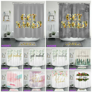 Get Naked Shower Curtain Sets Marble Green Leaves Flowers For Bathroom Decor