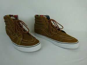 Vans Off The Wall High Top Brown Leather Shoes White Stitching ~ Men's Size 12