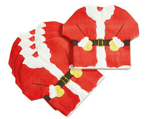 Pack of 16 Red Santa Suit Shaped Napkins Tableware Christmas Xmas Decorations