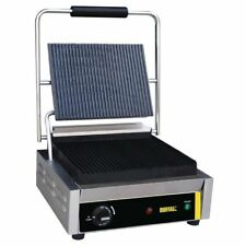 Buffalo Bistro Contact Grill Large Ribbed Silver Stainless Steel Cast Iron