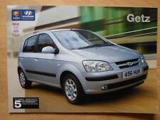HYUNDAI GETZ Range orig 2003 2004 UK Mkt Sales Brochure
