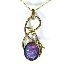 Vintage Black Opal Triplet 9ct Yellow Gold Pendant + Belcher Chain