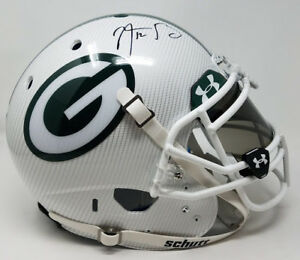 AARON RODGERS Autographed White Hydro Dipped Authentic Helmet STEINER LE 12/12