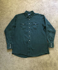 Vintage Wrangler XLT Green Denim Button-Up Cowboy Shirt