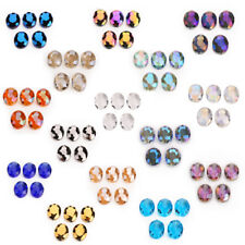Hot 10pc 20x16mm Faceted Oblong Cut Glass Crystal Loose Spacer Oval Beads Design