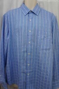 Tasso Elba Mens Casual Shirt Sz XL 17-17 1/2 Blue Multi Button Down Work Casual
