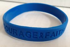 SUPPORT WRISTBAND BRACELET BLUE COLON CANCER CHILD ABUSE POLICE BULLYING WATER !