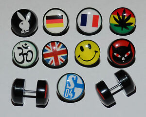 10mm Logo Cheater Ear Ring Stud. Choice of Unique Logo Designs.