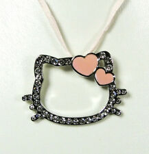 Pendentif Hello Kitty coeur rose cordon rose