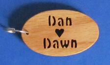 """Personalized Couples """"Heart"""" Keychain - Hand Cut From Oak"""