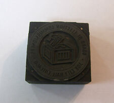 """Vintage Printing Type Block : """"Chicago Board of Election Commissioners"""" Seal"""