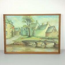 "Painting Framed ""Back Water"" Fishing Boys Halcyon Days Rural Naive Wildbur 1972"