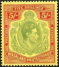 More details for nyasaland 1938-44 kgvi  5/- pale green & red/yellow  sg.141 mint hinged  cat:£55