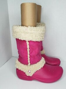 Crocs Womens Mid Calf Faux Sherpa Waterproof Cute Pink Pull On Boots size 9