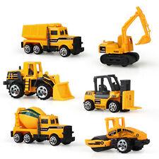 6 Pcs/set Engineering Vehicle Model Bulldozer Car Truck Toy Tractor Alloy Toys