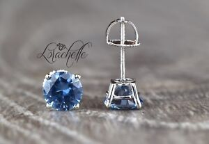 2.0 ct Round Cut Aquamarine Screw Back Solitaire Earring Studs 14K White Gold