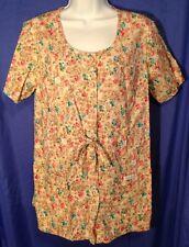 CHEROKEE Scrub Jacket Top Woman's Size M 100% Cotton Floral Soft Nurse CNA EUC