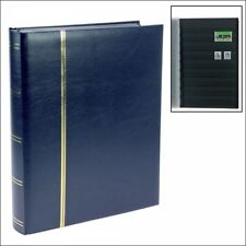 Stamp Albums Stock Books - Dark Blue - 64 Black Pages