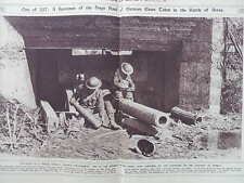 1917 CAPTURED AT ARRAS - GERMAN 8 INCH NAVAL GUN EMPLACEMENT WWI WW1 DOUBLE PAGE
