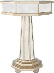 ACCENT TABLE TRANSITIONAL ANTIQUE PEWTER DISTRESSED MIRROR BIRCH MIRRORS