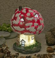 Mushroom Toadstool Fairy House Solar Lights Up At Dusk Fairy Garden