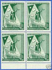 CHILE, INTERNATIONAL YEAR OF THE REFUGEE, MNH, BLOCK OF FOUR, YEAR 1960.-