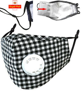 gingham check Cotton with PM.25 filter 3D black Face Mask washable vent nose