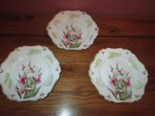 "3 Vintage Bavaria Floral Plates 6 7/8"" Scalloped with Gold Trim"